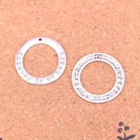 47pcs Charms circle forever in my heart Antique Silver Plated Pendants Making DIY Handmade Tibetan Silver Jewelry 28mm