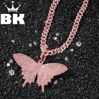 HIP HOP Custom Pink Butterfly Pendant Necklace Combination W...