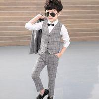 Baby Boy Suit Vest + Blazer Calças + 3pcs crianças Criança Rapazes ternos traje Blazers cavalheiro Terno formal do casamento Terno Vestuário Crianças Party Boy