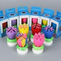 Cumpleaños musical vela de loto Loto Floral Vela giratoria Vela de loto Velas Velas Torta Accesorio Regalo KKA7955