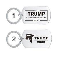 Llavero de acero inoxidable americano Trump Tag Colgante llavero llavero hombres creativo titular de la clave Keep America Great Accessories LJJJ136