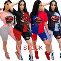 Kadınlar Eşofman Patchwork Renk Delik Dudaklar Tasarımcı İki Adet Set Kıyafetler Kısa Kollu T Shirt Şort Yaz Casual Spor Suit S-3XL D7101