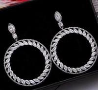 Hueco de la manera aro de la gota pendiente 5A circón diamante de la CZ cuelga los pendientes de la boda 925 de compromiso esterlina para la joyería nupcial del regalo de las mujeres