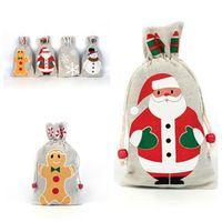 Presentes quente Natal Drawstring Bag Pouch Papai Noel do floco de neve de presente de Natal SnowmanChristmas Detalhes no Bags festiva T2I5372