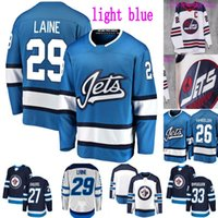 Winnipeg Jets Tercer Jersey 26 Blake Wheeler 27 Nikolaj Ehlers 29 Patrik Laine 33 Dustin Byfuglien 55 Mark Scheifele Hockey Ice Hockey Jerseys