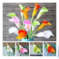 """Sahte Tek Kök Calla Lily 26"""" Simülasyon Gerçek Dokunmatik PU Callas Düğün Ev Dekoratif Yapay Çiçekler için"""