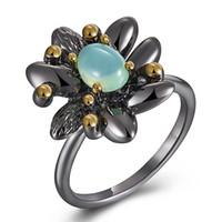Lt Anel de pedra de Opala Azul anel feminino Preto flor de jóias de Cobre anti alergia metal Adorável anéis de Jóias de qualidade superior para as mulheres