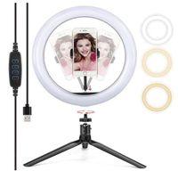 Lampe à bague à LED de 10 pouces avec support trépied Stand Selfie Stick Lampe de table Dimmable pour maquillage en direct