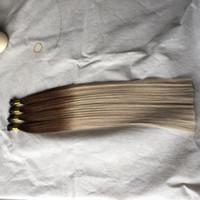 높은 품질 더블 그린 스트레이트 헤어 선염 8/18 나노 링 헤어 확장 0.8 그램 / 가닥 200 가닥 / 많은 160 그램