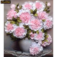 """5D bricolaje pintura diamante de punto de cruz """"Pink Peony decoración"""" La plaza del diamante completo bordado de la costura del Rhinestone mosaico Crafts 1231"""