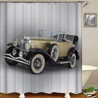 골동품 자동차 클래식 자동차 3D 인쇄 샤워 커튼 폴리 에스테르 직물 방수 커튼 변기 커버 세트 욕실 장식 세트
