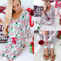 Adult Christmas Pajamas Set Women Ladies Sleepwear Nightwear...