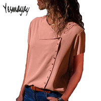Streetwear Blouse Women Summer Short Sleeve Shirts Top Femme...