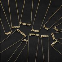 12 constellations lettre pendentif colliers cadeaux d'anniversaire pour hommes femmes femmes couleur en acier inoxydable pendentif pendentif zodiaque bijoux nouveaux