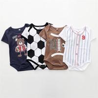 ins de impressão Basebol recém-nascido Macacões Primavera gravata romper Beisebol Softbol manga curta Criança Vestuário Infantil FJ483