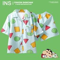 Sevimli Pijama Kadınlar Erkekler Büyük Boy Baskı Geometrik 3 adet Seti Kısa Kollu + Şort Elastik Bel + kör Gevşek Tops ayarlar
