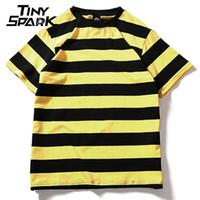 Sarı Siyah Kırmızı Beyaz Çizgili Tişört Pamuk Vintage Hip Hop Harajuku Üstleri Tee Erkek Kadın Çizgili Tişört Streetwear Kısa Kollu Y19060601