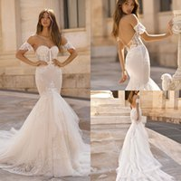 2019 New Berta Sweetheart Mermaid Abiti Da Sposa In Pizzo Appliques Abiti Da Sposa Sweep Treno Sexy Beach Backless vestidos de noiva