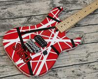 Mejora de la cabeza grande Eddie Van Halen 5150 Blanco Blanco Guitarra eléctrica roja Floyd Rose Tremolo Tuerca de bloqueo, diapasón de cuello de arce
