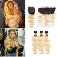 Ombre 1B / 613 Blonde brasilianischen Malaysian Indian Jungfrau-Haar-Webart Gerade 3 Bundles mit Spitze Schließung Virgin Haar Bündel mit 13x4 Frontal