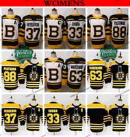 Boston Bruins Hockey-Trikots für 2019 Damen 37 Patrice Bergeron 33 Zdeno Chara 63 Brad Marchand 88 David Pastrnak Damen Schwarz Home Shirts
