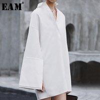 [EAM] 2020 Новой весна осень отложной воротник с длинным рукавом срощенных Сыпучего большого размера Темперамент платье женщины Блузка мода JX816