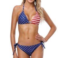 Американский флаг Bikinis Set Новый стиль Sexy Купальник бикини Купальники Женщины пляж Push Up Micro лук бикини Set Полька Dot Bikini