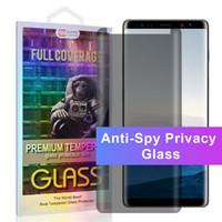 개인 정보 보호 유리 안티 스파이 삼성 갤럭시 S9 S8 플러스 참고 9 케이스 친화적 유리 안티 스파이 곡선 보호 필름 S7 가장자리 노트 8 상자