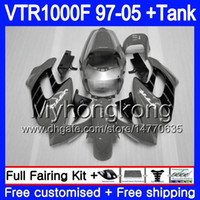 Cuerpo para HONDA VTR1000F SuperHawk 97 98 99 03 04 05 256HM.41 VTR 1000 F 1000F VTR1000 F Gris negro caliente 1997 1998 1999 2003 2004 2005 Carenado