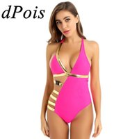 Femmes monokini Maillots de bain une pièce asymétrique Halter Neck Backless creux Side Out rembourré Push Up Sexy Bodysuit Beach Wear