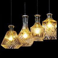 Modern personlighet E27 Glashängande ljus Vinflaska Graverade Hängsmycke Lampor för matsal Vardagsrum Restaurang Cafe Bar