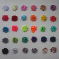 """100 piezas 1.5"""" flores lamentables de la gasa petite para los accesorios del pelo del bebé niñas, mini gasa deshilachados flores para los accesorios del clip vendas del pelo"""