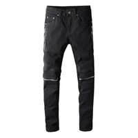 Os mais recentes Mens Zipper preto afligido Jeans Fashion Designer Slim Fit Lavados Motocycle Denim Pants painéis Hip Hop motociclista Calças PN627