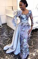 Vestidos de noite de estilo de renda aso ebi com trem lateral 2020 africano nigeriano manga longa laço bordado 3d vestido de vestido de baile floral