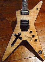 Custom Dimebag Darrell Wash Electric Guitar Stickers Abalone Southern Cross Inlay Corps, Matériel Noir, Guitares de signature sur mesure