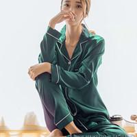 Femmes Automne Casual Ladies Ladies Nightwear Homewear Pyjamas Ensemble de vêtements de nuit solides à manches longues