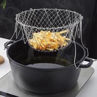 Faltbare Dampf Rinse Dehnungs Edelstahl Folding Frittierkorb Seiher Sieb Mesh-Sieb Küche, die Werkzeug-Zubehör