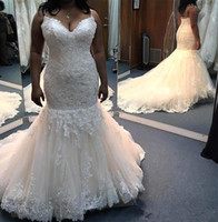 Spaghetti Plus Size Mermaid Wedding Dresses 2019 New Sleevel...