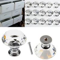 40mm cocina de cristal diamante de cristal perillas de la puerta cómoda gabinete armario armario cajón hardware perilla manija tirar baño
