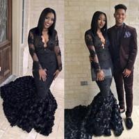 Robe de bal noire gothique sirène 2K19 3D Rose balayage train robes de soirée sud-africaines col V pure robe longue de soirée
