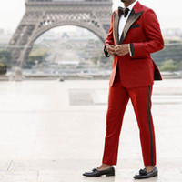 Groom Tuxedos Groomsmen Peak Lapel New Style Red Men Suits W...