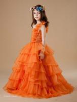 Cute couleur orange fille Pageant robe princesse robe de bal Party Cupcake bal Robes pour courte robe de demoiselle Jolie robe pour Little Kid