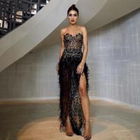 Sexig Black Sweetheart Prom Klänningar Vintage High Side Split Evening Gown Luxury Formal Party Women Club Dresses 2494
