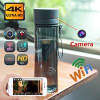128 جيجابايت ذاكرة 4 كيلو 4096x2160p واي فاي كاميرا زجاجة مياه المياه، الأمن hd المحمولة البلاستيك زجاجة مياه الشرب اللاسلكية IP P2P كاميرا PQ548
