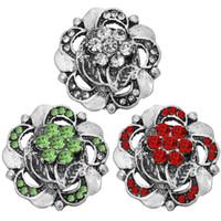 5pcs / lot 18mm 20 mm fleur de cristal Bouton Pour Snaps Bracelet Bijoux Accessoires de bricolage