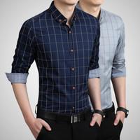 5ecb3131ae 2019 Men Classic Denim Shirts Long Sleeve Floral Shirt Slim Fit ...