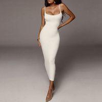 2020 Damen Sommerkleider Gurt Weibliche Kleidung Ärmelloses Strand Kleid Feste Farbe Bodycon Tube Sexy Kleid Womens Top Mode