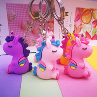 Silicone Alpaca Unicorn Keychains Women Girl Cute Animal Charms Key Ring Hand Bag Pendant Car Holder Jewelry Accessory Wholesale