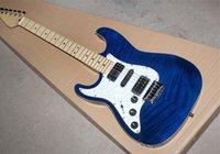 Colore blu chitarra elettrica trasparente sinistra con HSH pickup, foglia acero tigre, cromo piastra, conveniente, produzione di precisione, elevata