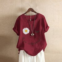 Oversized 5XL Cotton Linen Blouses Women Summer Daisy Letter...